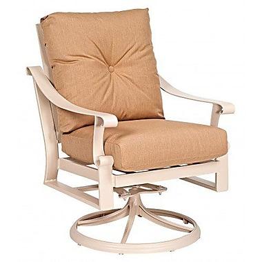 Woodard Bungalow Stationary Rocking Patio Chair w/ Cushions; Canvas Palm