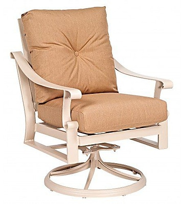 Woodard Bungalow Stationary Rocking Patio Chair w/ Cushions; Canvas Chestnut