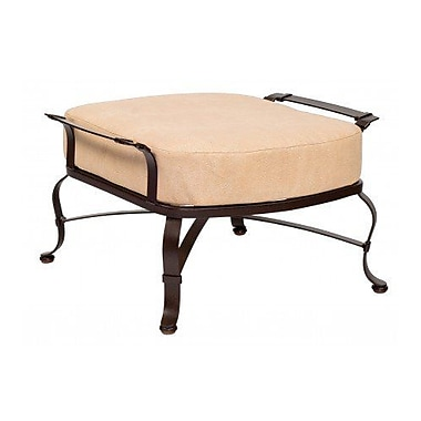 Woodard Atlas Ottoman w/ Cushion; Brisa Distressed Chamois