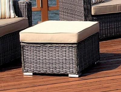 Woodard Bay Shore Ottoman w/ Cushion; Brisa Distressed Dove Gray
