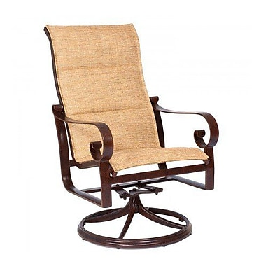 Woodard Belden Padded Sling High-Back Swivel Rocking Chair; Augustine Pear