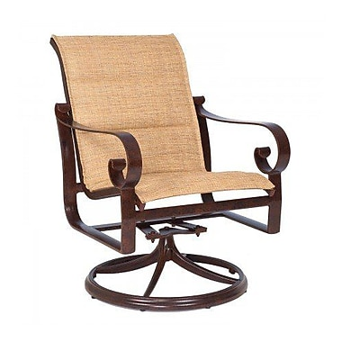 Woodard Belden Padded Sling Swivel Rocking Chair; Chocolate Flex Sling