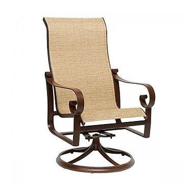 Woodard Belden Sling High-Back Swivel Rocking Chair; Platinum