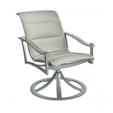 Woodard Nob Hill Padded Sling Rocking Swivel Patio Dining Chair; Augustine Alloy