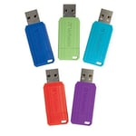 Verbatim 16GB Pinstripe USB 2.0 Flash Drive, 5/Pack