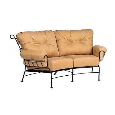 Woodard Terrace Crescent Loveseat w/ Cushions; Canvas Heather Beige