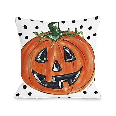 The Holiday Aisle Halloween Pumpkin Dots Throw Pillow; 18'' x 18''