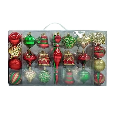 The Holiday Aisle 43 Piece Combo Shaped Ornament Set; Red/Green/Gold