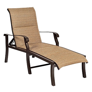 Woodard Cortland Padded Sling Adjustable Chaise Lounge; Sailing Salt