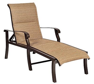 Woodard Cortland Padded Sling Adjustable Chaise Lounge; Tin Ceiling
