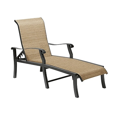 Woodard Cortland Sling Adjustable Chaise Lounge; Pewter