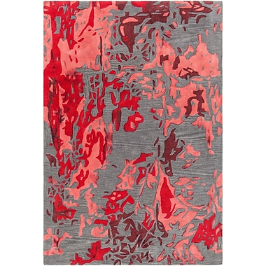 Latitude Run Steves Hand-Tufted Red/Charcoal Area Rug; 5' x 7'6''