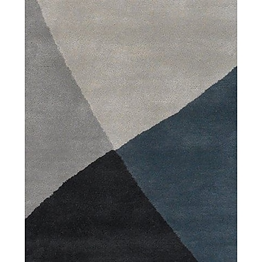 Latitude Run Stickel Hand Woven Black/Gray Area Rug; 5' x 7'6''
