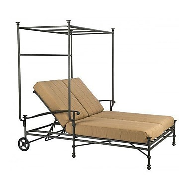 Woodard Nova Double Chaise Lounge w/ Cushion and Canopy; Axel Smoke