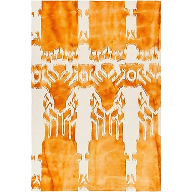 Bungalow Rose Colombes Hand-Tufted Orange/Beige Area Rug; 7'9'' x 10'6''
