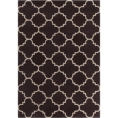 Mercer41 Electra Patterned Contemporary Wool Brown/White Area Rug; 5' x 7'