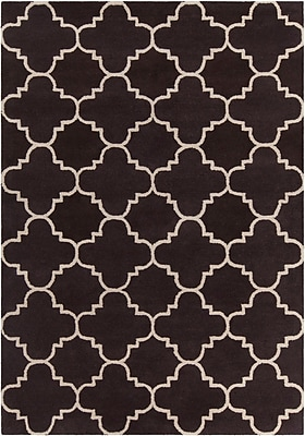 Mercer41 Electra Patterned Contemporary Wool Brown/White Area Rug; 7' x 10'