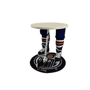Team Tables – Table d'appoint à motif Oilers d'Edmonton sous licence officielle, 27 po, ronde (H-EDM-W-W-M)