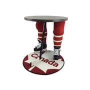 "Team Tables Canada Hockey Accent Table, Silver, 27"" Round Flag Mat (H-CAN-S-B-M)"