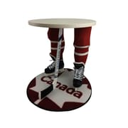 "Team Tables Canada Hockey Accent Table, White, 27"" Round Flag Mat (H-CAN-W-W-M)"