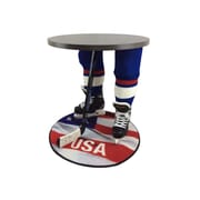 "Team Tables U.S.A. Hockey Accent Table, Silver, 27"" Round Flag Mat (H-USA-S-B-M)"