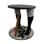 """Team Tables Chicago Baseball Accent Table, Officially Licensed 27"""" White Sox Carpet (B-CHIS-S-Z-M)"""