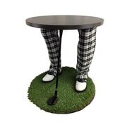 "Team Tables Winter Tiger Golf Accent Table, 24"" Grass Turf Rug (G-WTC-S-B-M)"