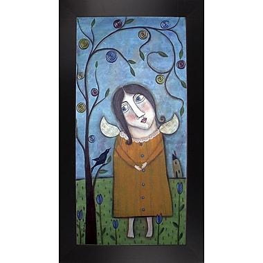 Winston Porter 'Primitive Girl' Print; Black Floater Framed Canvas