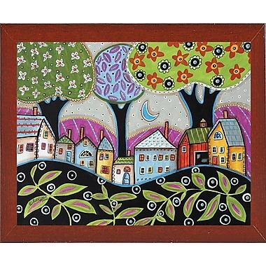 Winston Porter 'Town 1' Print; Red Mahogany Wood Medium Framed Paper