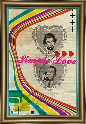 East Urban Home 'Simple Love' Framed Graphic Art Print; Rolled Canvas