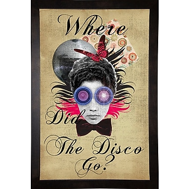 East Urban Home 'Where Did The Disco Go' Framed Graphic Art Print; Cafe Espresso Wood Framed Paper