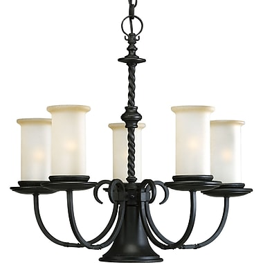 Astoria Grand Jakes 5-Light Shaded Chandelier; Forged Black