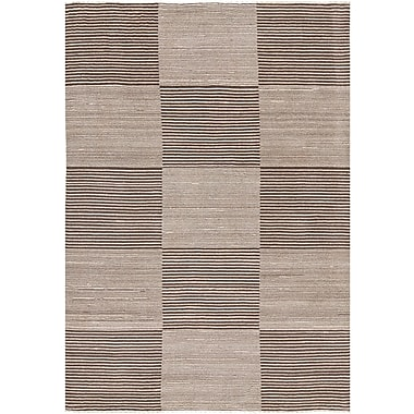 Corrigan Studio Roxanne Hand-Knotted Cream/Brown Area Rug; 5' x 7'6''