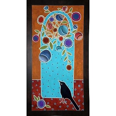 Winston Porter 'Basket and Bird' Print; Black Wood Medium Framed Paper