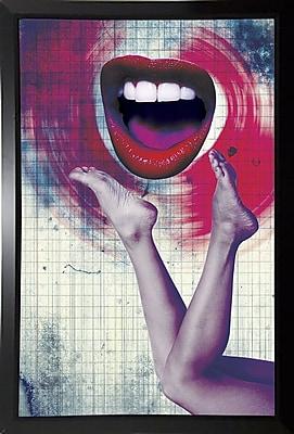 East Urban Home 'Bla Bla Bla' Framed Graphic Art Print; Black Plastic Framed Paper