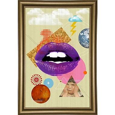 East Urban Home 'Retro Kiss' Framed Graphic Art Print; Black Floater Framed Canvas