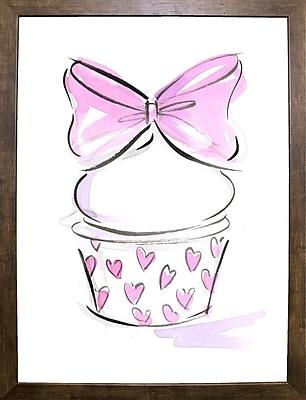 East Urban Home 'Cupcake-6' Print; Cafe Mocha Framed Paper