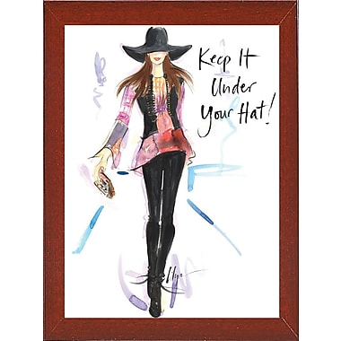 East Urban Home 'Keep it Under Your Hat' Print; Red Mahogany Wood Medium Framed Paper