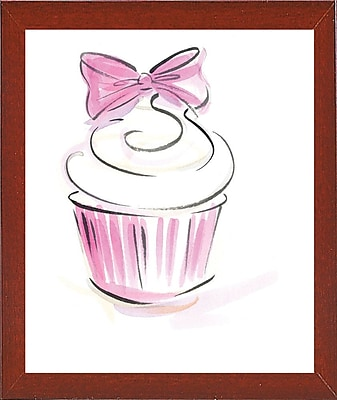 East Urban Home 'Cupcake-3' Print; Red Mahogany Wood Medium Framed Paper