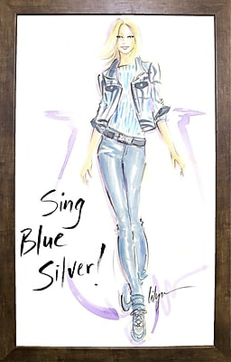 East Urban Home 'Sing Blue Silver' Print; Cafe Mocha Framed Paper