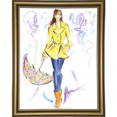 East Urban Home 'Happy When it Rains' Print; Bistro Gold Framed Paper