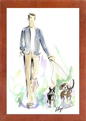 East Urban Home 'Dog Walkin' Print; Canadian Walnut Wood Medium Framed Paper