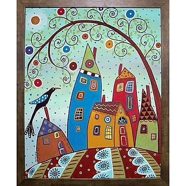 Winston Porter 'Swirl Tree Bird and Houses' Print; Cafe Mocha Framed Paper