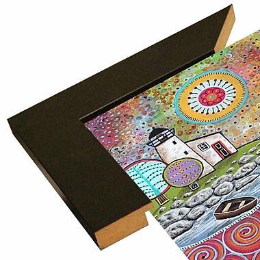 Winston Porter 'Lighthouse 1' Print; Wood Floater Framed Wrapped Canvas