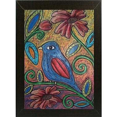 Winston Porter 'Blue Bird' Print; Brazilian Walnut Wood Medium Framed Paper