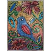 Winston Porter 'Blue Bird' Print; Silver Metal Framed Paper