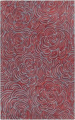 Rosdorf Park Norah Hand-Tufted Red/Gray Area Rug; 5' x 7'6''