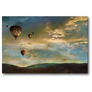 Ebern Designs 'Beautiful Sky Hot Air Balloons' Graphic Art Print on Wrapped Canvas