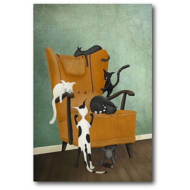 Ebern Designs 'Cat Life' Graphic Art Print on Wrapped Canvas