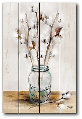 Gracie Oaks 'Cotton in The Mason Jar' Graphic Art Print on Wrapped Canvas